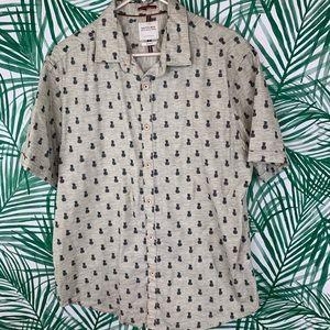 🌻Cactus man pineapple print button front shirt XL